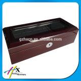 Neuer Entwurfs-kundenspezifischer hölzerner Uhr-Verpackungs-Kasten mit Fenster-Kappe