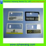 Lupa portátil plástica com o cartão personalizado Hw-802 do Magnifier do bolso do logotipo