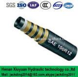 Pression superbe, tuyau hydraulique renforcé en spirale du fil d'acier quatre adaptant SAE100r12