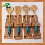 Cuillère à cuire en bambou de traitement coloré de silicone