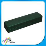 Rectángulo de almacenaje de madera de empaquetado del rectángulo de la PU de la joyería determinada revestida de cuero verde oscuro del lujo
