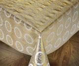 PVC Lace Crochet Table Cloth di 137 cm Vinyl in Roll Gold/Silver Coated