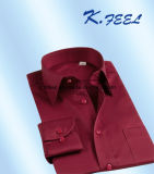 Lang Katoenen van de Koker Kastanjebruin Overhemd voor de BedrijfsMens