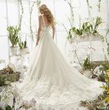 Линия платье венчания Applique шнурка шеи v