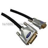 Высокоскоростная раковина DVI металла к кабелю DVI с курткой PVC