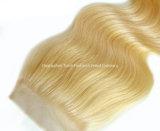 Hairpieces de face de base en soie blonds de fermeture des accessoires #27 de cheveu du lacet 4*4