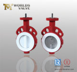セリウムISO Wras CertificatesのPTFE PFA Full Lined Wafer Type Butterfly Valve