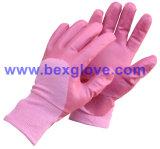Вкладыш блокировки хлопка, покрытие нитрила, грубые перчатки безопасности отделки