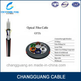 Cable óptico al aire libre impermeable trenzado unimodal de fibra del tubo del cable de fibra óptica multi de la base de GYTA de la fibra del cable de la fuerza floja del alambre de acero