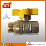 Robinet à tournant sphérique en laiton de gaz de traitement de jaune de guindineau (YD-1023-1)