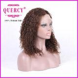 ブラウンカラー巻き毛の最上質の130%密度の赤ん坊の毛を搭載するブラジルの人間のRemyの前部レースのかつら