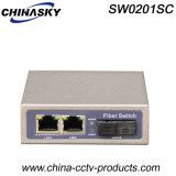 2 portuario RJ45 + 1 interruptor de red portuario de la fibra del Sc (SW0201SC)