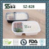 Recipiente descartável plástico do empacotamento de alimento de 2 compartimentos