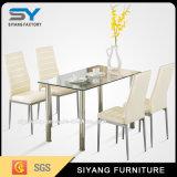 Mesa de jantar européia de alta qualidade com vidro temperado