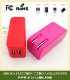 carregador duplo do curso das portas do USB 5V3.1A 2 para o telemóvel