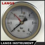 OEM llenado líquido del calibrador de presión 064 de 63m m (CON EL PUNTERO AMONESTADOR ROJO)