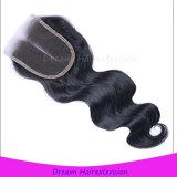 Человеческие волосы закрытия шнурка тела волнистые естественные