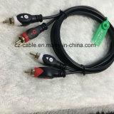 Sistema de pesos americano de cable, enchufe de Fisheyes 2RCA al cable del enchufe 2RCA,