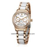 Новый wristwatch повелительниц нержавеющей стали диаманта способа