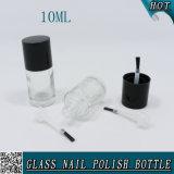 10ml ronds vident la bouteille en verre de vernis à ongles de gel avec le couvercle noir