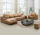 Sofà di cuoio di ufficio delle forniture dei piedini di legno del metallo (UL-NS237)
