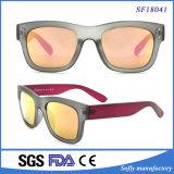 Óculos de sol personalizados do logotipo UV400 de Rosa do frame templo vermelho de prata