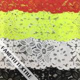 Tessuto di nylon del merletto del grande cotone del fiore per l'indumento