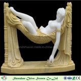 Белые мраморный состояние мрамора скульптуры для сада или крыто