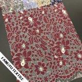Tela de confeção de malhas do laço da flor quente da venda 2017 para o vestuário