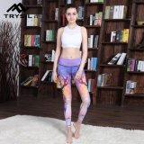 Pantaloni lunghi stampati colore di yoga di Legging di ginnastica della miscela per gli abiti sportivi delle donne