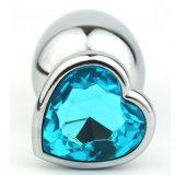 En forma de corazón de acero inoxidable joyería de cristal juega juguetes sexuales de tamaño medio 40 mm X 90 mm GS0210