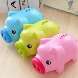 Rectángulo plástico cobrable de la caja fuerte del juguete del cerdo de los ahorros del efectivo del dinero de la moneda de la batería guarra