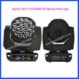 LED giratoria 19PCS * 15W RGBW luz principal móvil