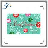 Projetar cartões plásticos impressos do presente do Natal para o festival