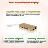 Tipo adattatore della Multi-Porta della lega di alluminio del mozzo del USB C del mozzo di C con il passaggio HDMI (30Hz), USB3.1 di 4k con il carico, Ethernet, il lettore di schede di deviazione standard e 3 porte del USB 3.0