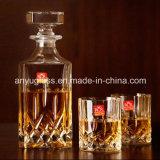Licor da forma/vinho quadrado/frascos de vidro do espírito com tampa de vidro