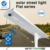 Indicatore luminoso di via a energia solare di funzionamento di Settable 150lm/W 30W LED di modo del FCC di RoHS del Ce di Bluesmart