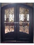 Xiamen-eindeutige Entwurfs-bearbeitetes Eisen-Glas-Haustüren