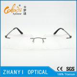 Leichter randloser Titanbrille Eyewear optische Glas-Rahmen mit Scharnier (5014)