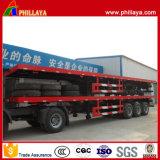 機械Suspension 40FT Container Transport Flatbed 60t Trailer