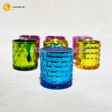 De kleurrijke In reliëf gemaakte Houder van de Kaars van het Glas