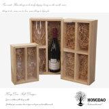 Rectángulo de almacenaje de madera inacabado al por mayor del regalo del vino de Hongdao para una botella con el _E del trazador de líneas