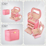 Caso de madera del almacenaje de la joyería del alto lustre rosado