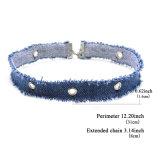ハンドメイドの青ジーンのふさの銀によってめっきされるリベットのチョークバルブのネックレス