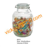 grande vaso di vetro con la piccola griglia, vaso della caramella 4L di memoria dell'alimento con la protezione