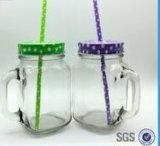 16oz het Drinken van het glas de Kruik van de Metselaar met Handvat en Deksel en Stro