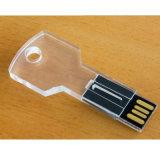 USB chave acrílico da movimentação 16GB do flash do USB da chave com luz