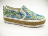 Вулканизированные ботинки способа женщин с подошвой джута (ET-LD160170W)