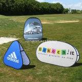 昇進の楕円形によっては円形旗を現れ折るフレームの旗の屋外のポータブルがぽんと鳴らし印の立場のスポーツのゴルフイベントの表示を広告する