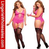 サイズのNightwearのLace-up前部細部のBustierランジェリーセットとセクシーな女性
